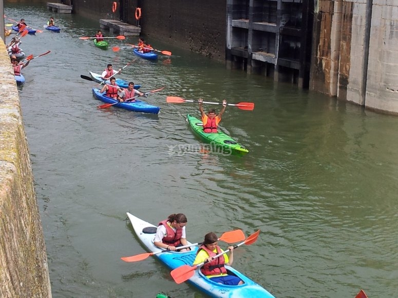 In the canoes