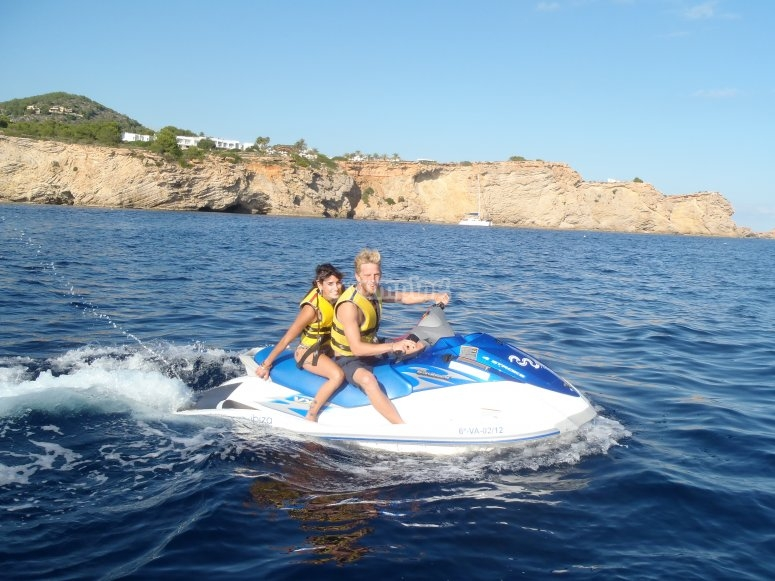 With the jet ski in Ibiza