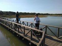 Cruzando la pasarela en segway