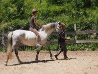 Paseando con el caballo dentro de la hipica