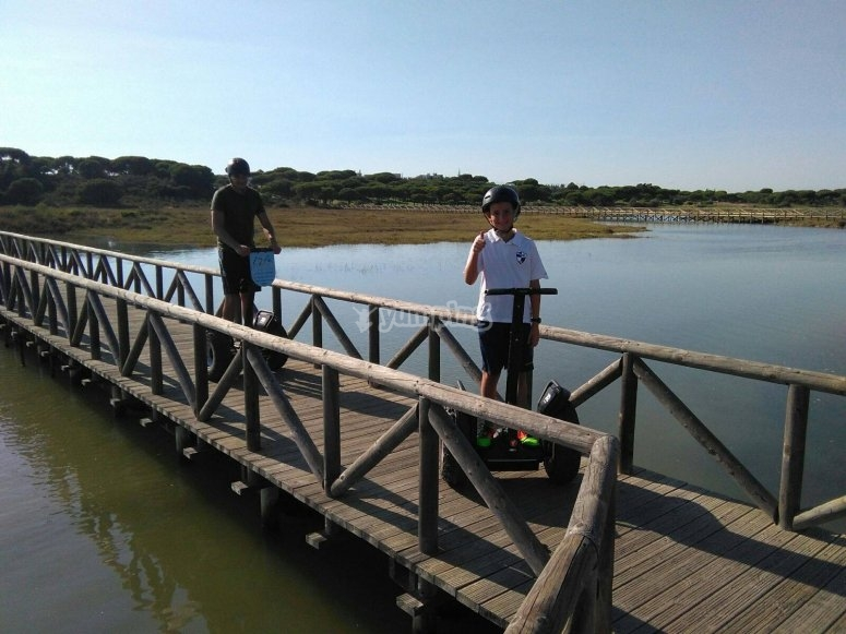 Crossing the bridge by Segway