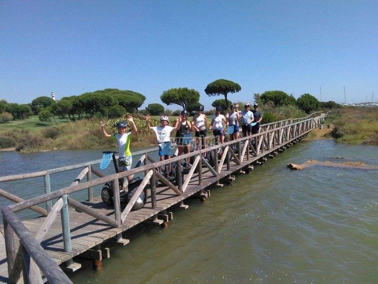 Family crossing the bridge