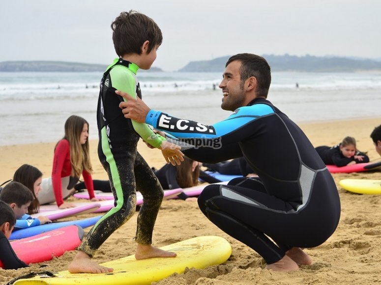 Young surfer learning