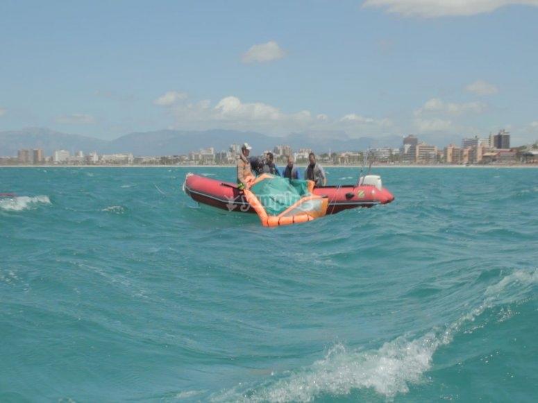 Kite desde embarcación