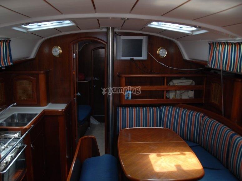 El interior del velero