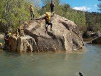 Water trekking between rocks
