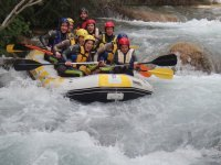 Rafting downhill with girls