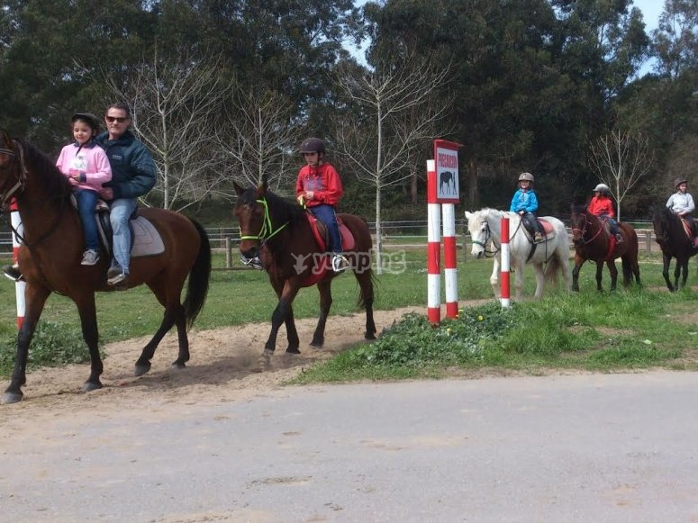 Family horseriding trip