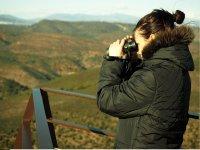 Con los prismáticos disfrutando de Monfragüe
