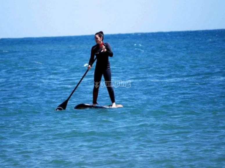SUP in open sea