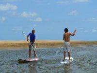 Handling the paddle surf board in Tarragona