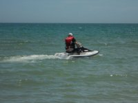 Stopping the jet ski in the water