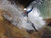 Rappelling between waters in Guara