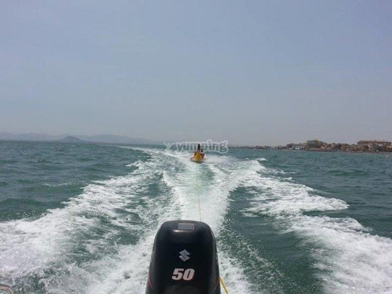 Leading the banana boat