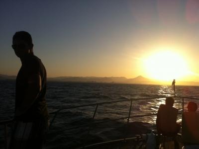 在日落,Gandía,1h的豪华马达游艇乘驾。