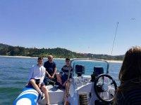 A bordo de la embarcación con la familia