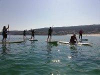 Practicando paddle surf con amigos