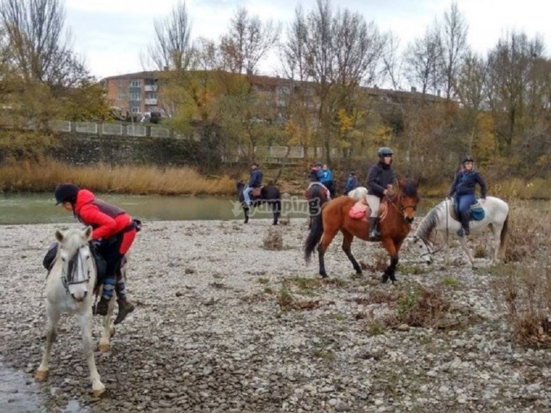 Beginning the session on horseback