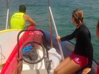 With the instructor on the boat