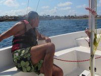 Looking at sea from the sailboat