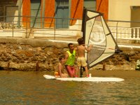Learning windsurfing with kids