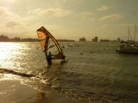 Putting the windsurfing board in the water