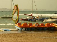 Windsurfing next to the shore