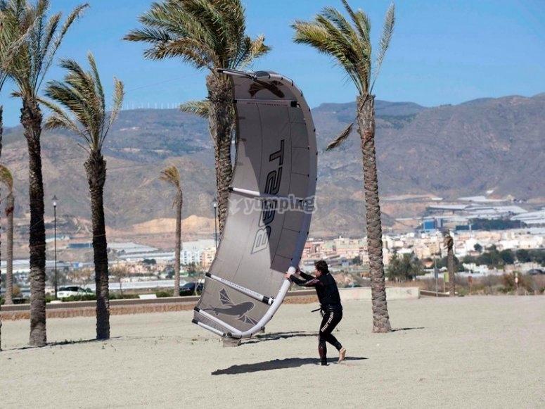 Aprendiendo kitesurf en tierra