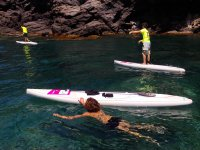 Rowing and bathing from the sup boards