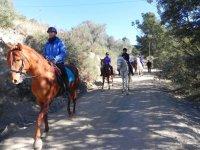 A caballo por el camino de tierra