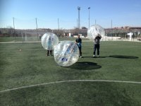 Rest in the bubble soccer match