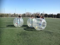 Players with their soccer bubbles