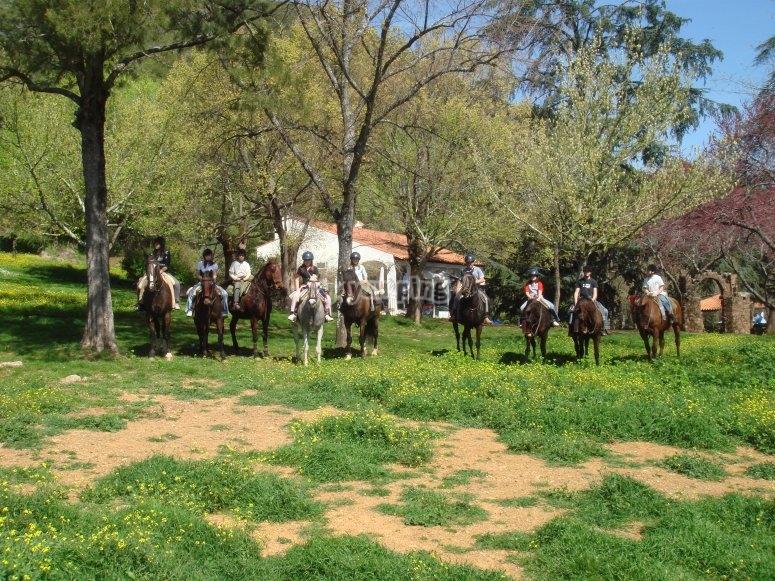 Ruta a caballo y aperitivo