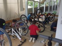Working on the bikes
