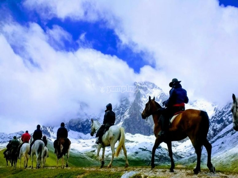 Mountains of Oyambre on the horses