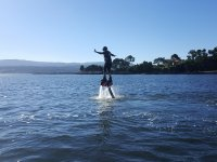 Going out of the sea with the flyboard table