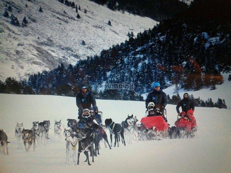 Ruta en mushing desde Plà de Beret hasta Montgarri
