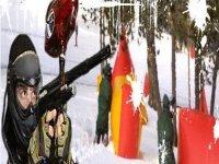 彩弹射击在雪中
