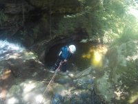 Rappelling through the waterfall