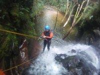 Rappelling through the ravine