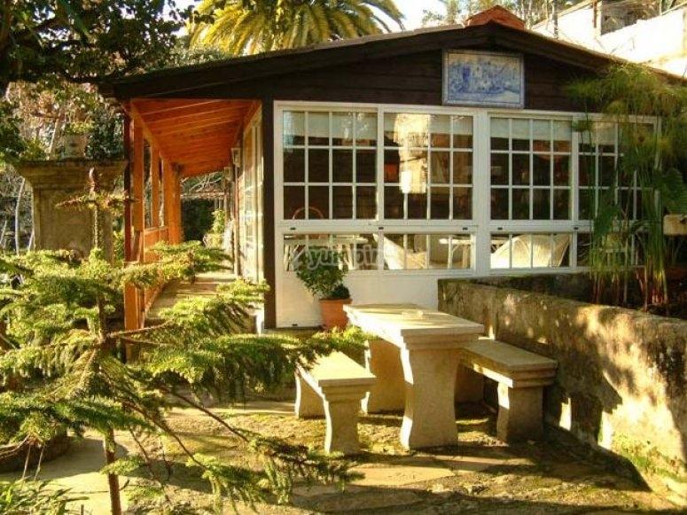 bungalow con banco