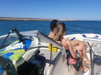 On board our speedboat