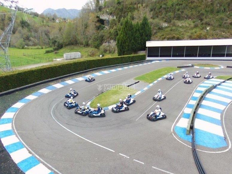 Participants at the karting circuit