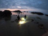 Adentrándose en el mar de noche