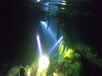 Alumbrando con la linterna bajo el mar