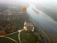 Flying over a castle
