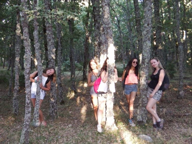 En el bosque durante la ruta de senderismo