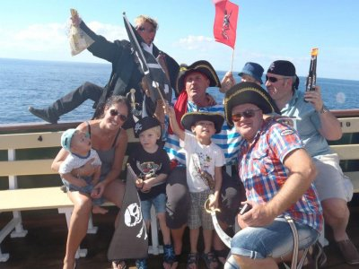 Pirate sailing day as a family, children