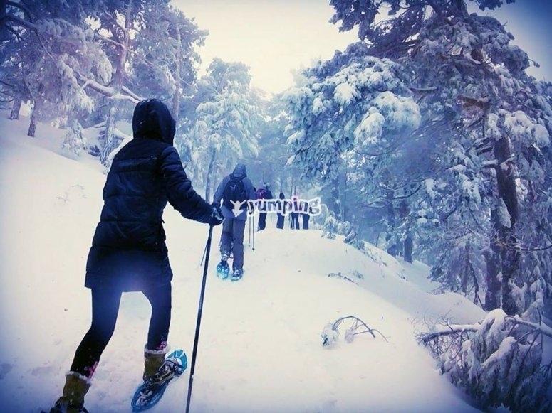 disfrutando de las raquetas de nieve