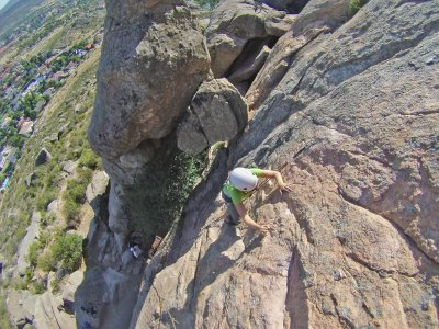 Climbing baptism in Guadarrama mountains, Madrid